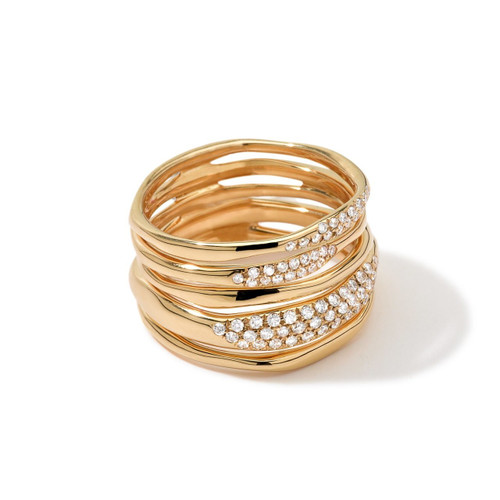 Squiggle Ring in 18K Gold with Diamonds GR364DIA