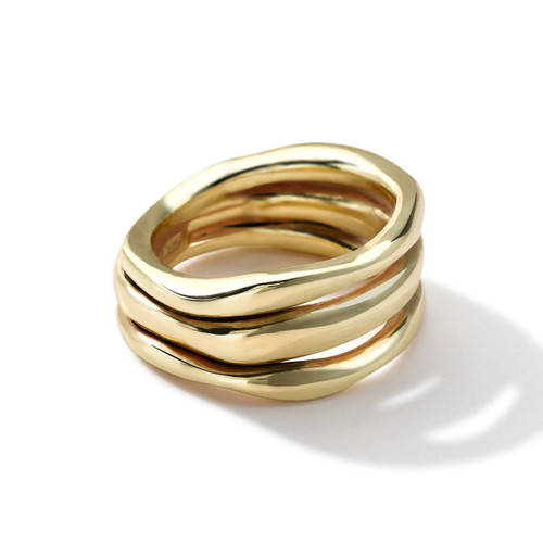 Smooth Squiggle Triple Band Ring in 18K Gold GR450
