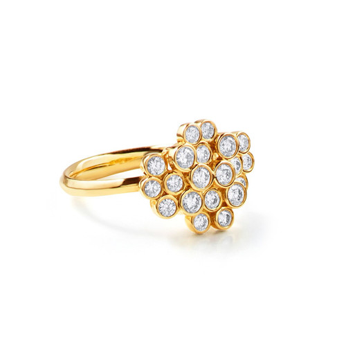 Starlet Cluster Ring in 18K Gold with Diamonds GR652DIA