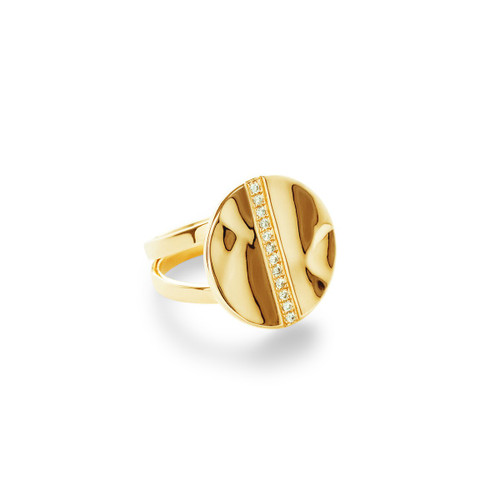 Disc Ring in 18K Gold with Diamonds GR684DIA