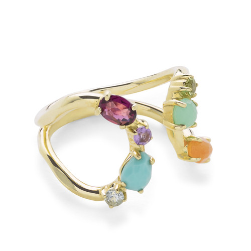 Mixed Stones Open Ring in 18K Gold GR697RAINBOW