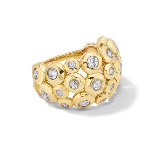 Bezel Set Pinky Ring in 18K Gold with Diamonds GR800DIA-4