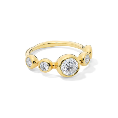5-Stone Ring in 18K Gold with Diamonds GR807DIA
