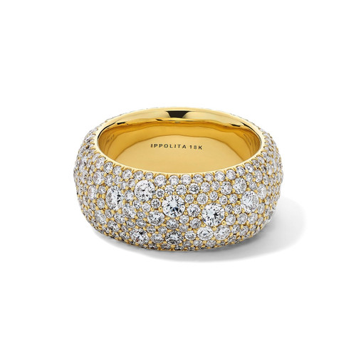 Organic Wide Band Ring in 18K Gold with Diamonds GR809DIA