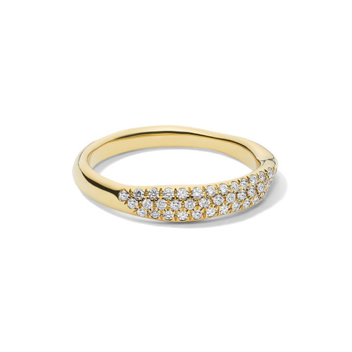 Squiggle Band Ring in 18K Gold with Diamonds GR812DIA