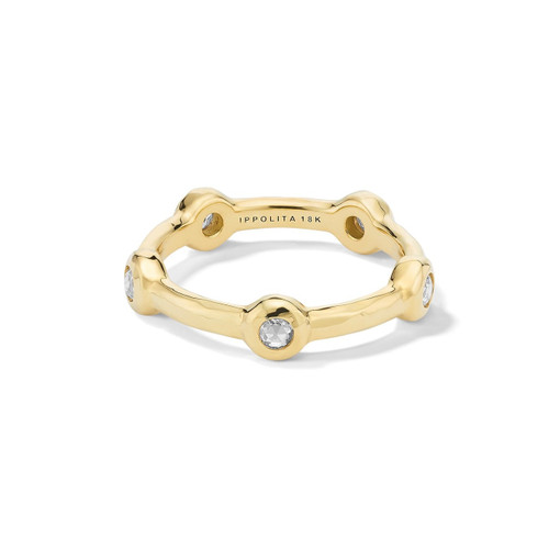 5-Station Ring in 18K Gold with Diamonds GR813DIA