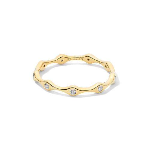 9 Station Skinny Band Ring in 18K Gold with Diamonds GR815DIA