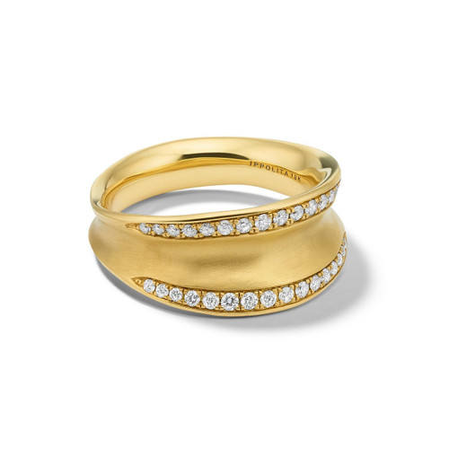Concave Ring in 18K Gold with Diamonds GR817DIA