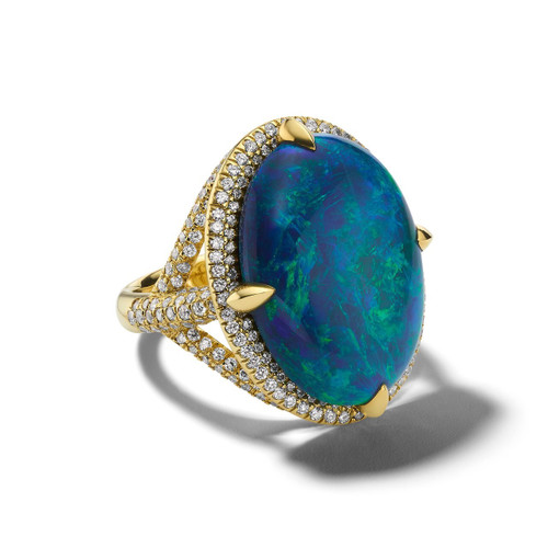 Oval Ring in 18K Gold with Diamonds GR859BKOPDIA