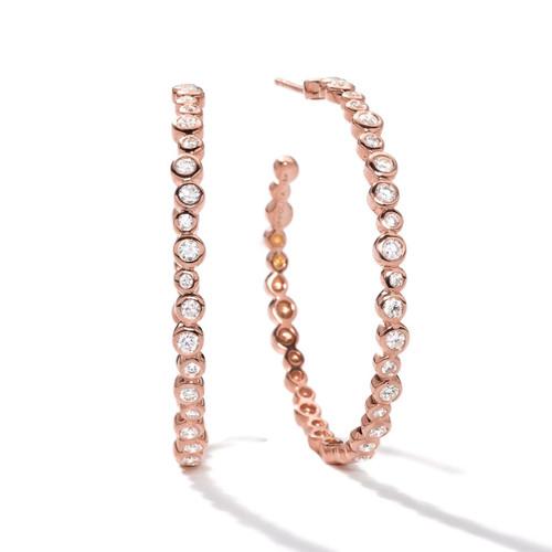 Starlet Medium Hoop Earrings in 18K Rose Gold with Diamonds RGE232DIA-A
