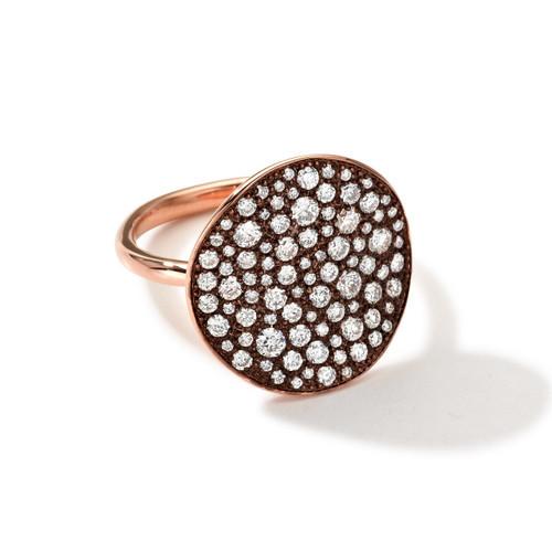 Disc Ring in 18K Rose Gold with Diamonds RGR109MDIA