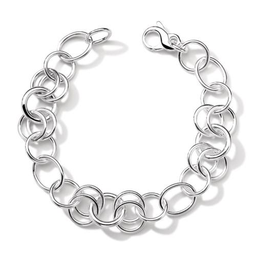 Round Link Charm Bracelet in Sterling Silver SB1066
