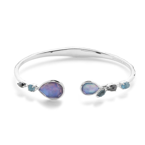 Mixed Stones Hinged Bangle in Sterling Silver SB1419ECLIPSE