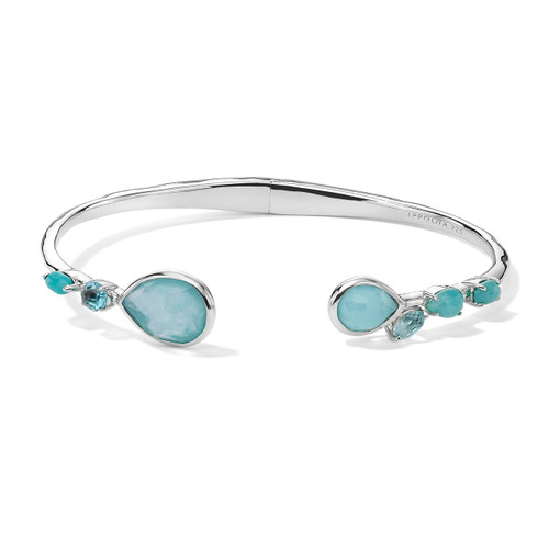 Mixed Stones Hinged Bangle in Sterling Silver SB1419WATERFALL