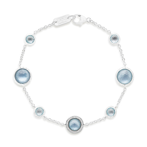 Mixed Stone Bracelet in Sterling Silver with Diamonds SB1429DFBTMOPDIA