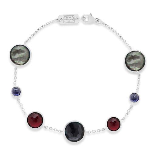 7-Stone Link Bracelet in Sterling Silver SB1468NOIR