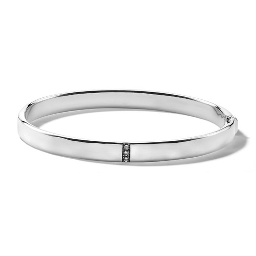 Hinged Bangle in Sterling Silver with Diamonds SB1562DIA