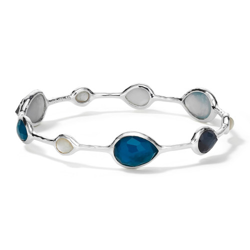Open Teardrop Bangle in Sterling Silver SB413BLUEMOON