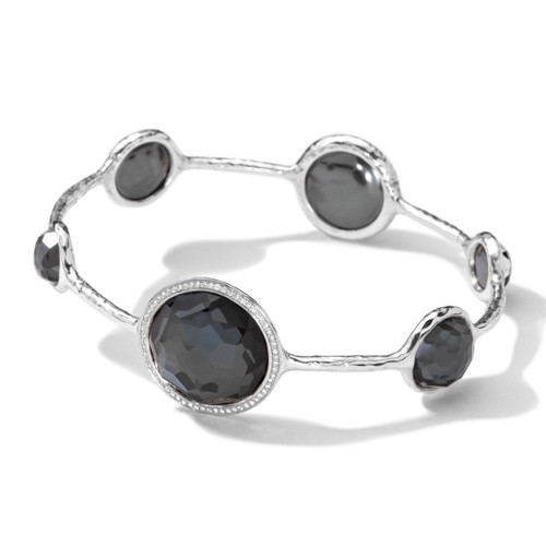 Large 6 Stone Bangle in Sterling Silver with Diamonds SB801DFHEMDIA
