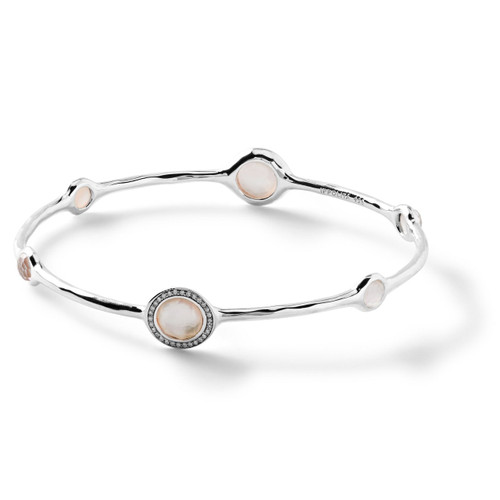 6 Stone Bangle in Sterling Silver with Diamonds SB802DFMOPDIA