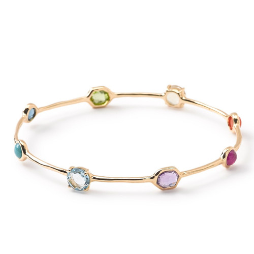 8-Stone Bangle in 18K Gold GB551SUMRAINBOW