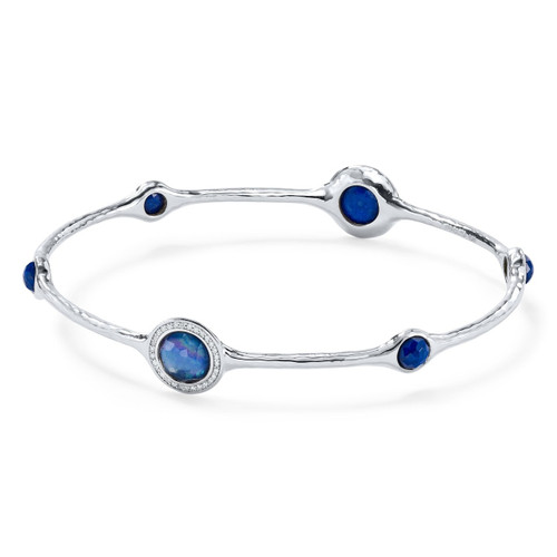 6 Stone Bangle in Sterling Silver with Diamonds SB802TFCQMOLPDIA