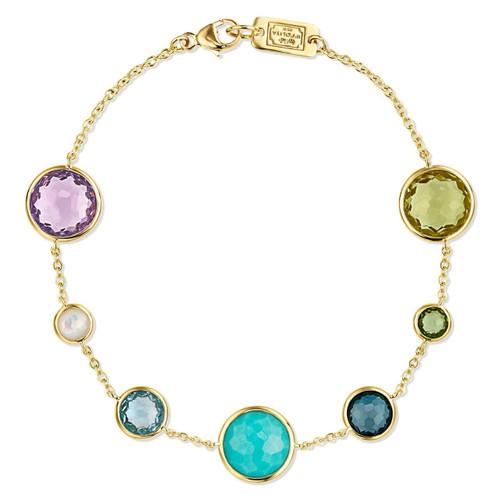 7-Stone Link Bracelet in 18K Gold GB568MULTI
