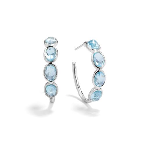 Small 4 Stone Hoop Earrings in Sterling Silver SE073BT