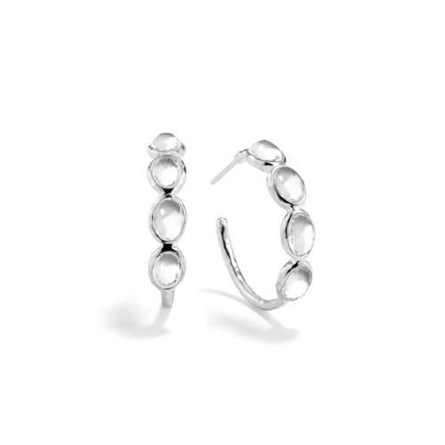 Small 4 Stone Hoop Earrings in Sterling Silver SE073CQ