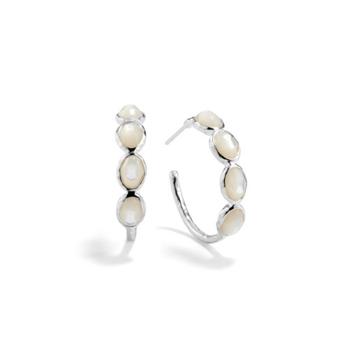 Small 4 Stone Hoop Earrings in Sterling Silver SE073MOP