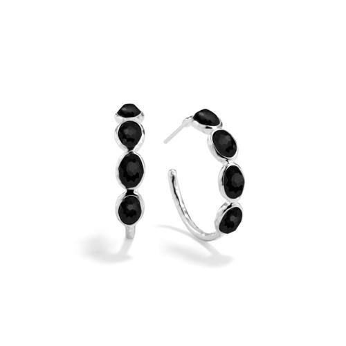 Small 4 Stone Hoop Earrings in Sterling Silver SE073NX