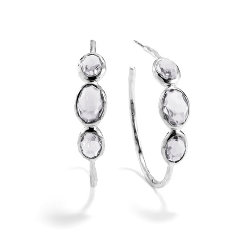 Medium 3-Stone Hoop Earrings in Sterling Silver SE074CQ