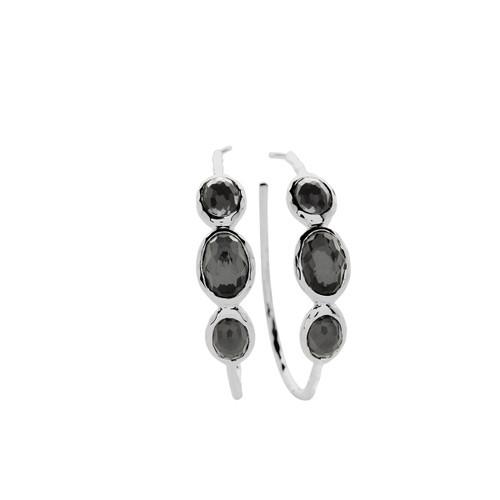 Medium 3-Stone Hoop Earrings in Sterling Silver SE074DFHEM