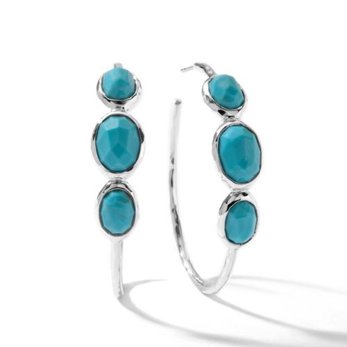 Medium 3-Stone Hoop Earrings in Sterling Silver SE074TQ