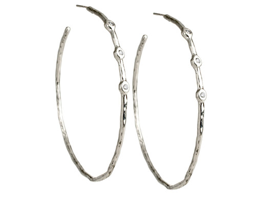 Hammered Hoop Earrings in Sterling Silver with Diamonds SE080DIA