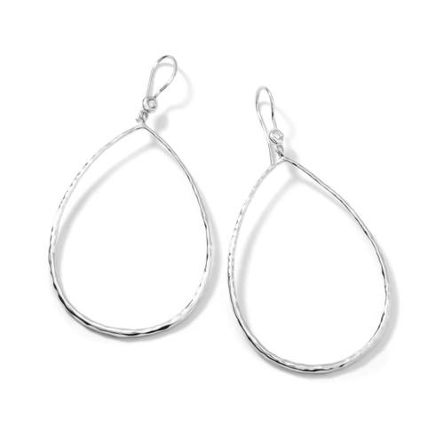 Hammered Teardrop Earrings in Sterling Silver with Diamonds SE091DIA