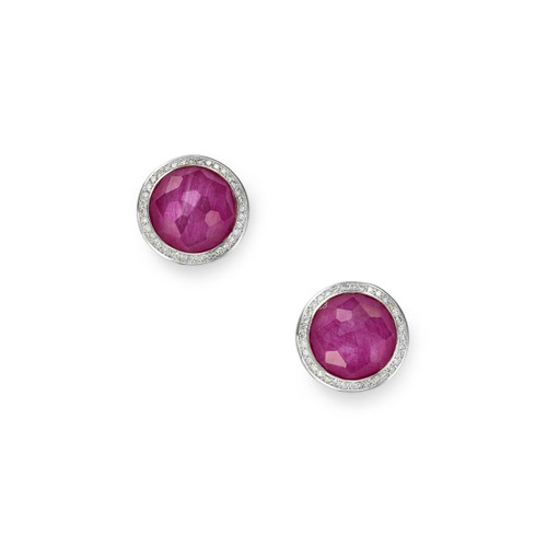 Small Stud Earrings in Sterling Silver with Diamonds SE1148DFARUDIA