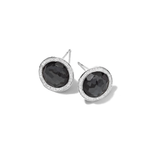 Small Stud Earrings in Sterling Silver with Diamonds SE1148DFHEMDIA