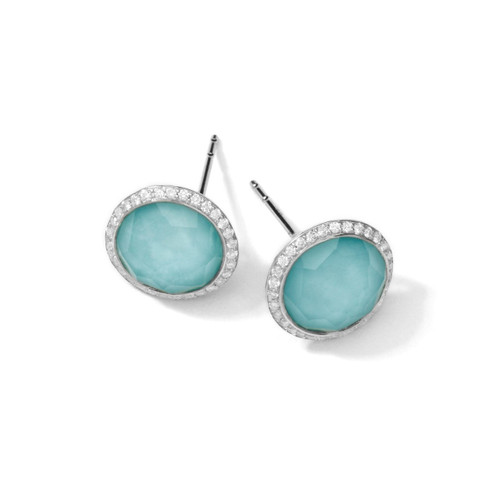 Small Stud Earrings in Sterling Silver with Diamonds SE1148DFTQDIA