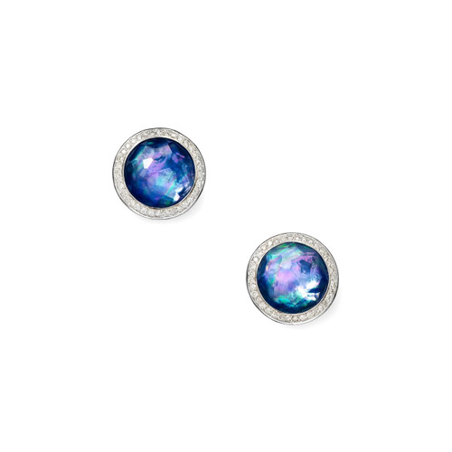 Small Stud Earrings in Sterling Silver with Diamonds SE1148TFCQMOLPDI