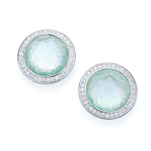 Small Stud Earrings in Sterling Silver with Diamonds SE1148TFCQMPAZDI