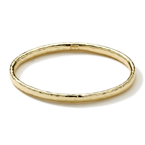 Hammered Flat Bangle in 18K Gold GB584