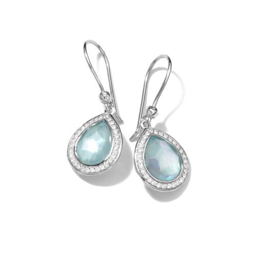 Mini Teardrop Earrings in Sterling Silver with Diamonds SE1150DFBTMOPDIA