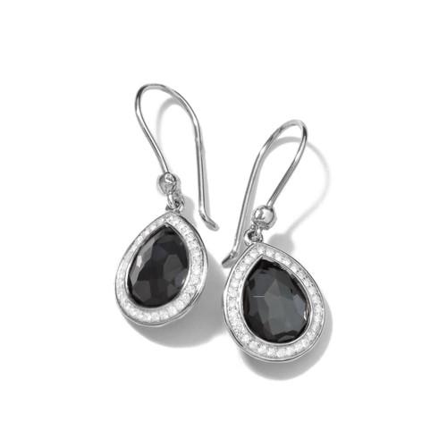 Mini Teardrop Earrings in Sterling Silver with Diamonds SE1150DFHEMDIA