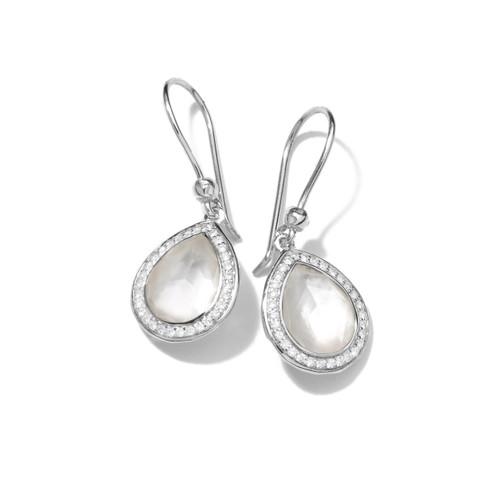 Mini Teardrop Earrings in Sterling Silver with Diamonds SE1150DFMOPDIA