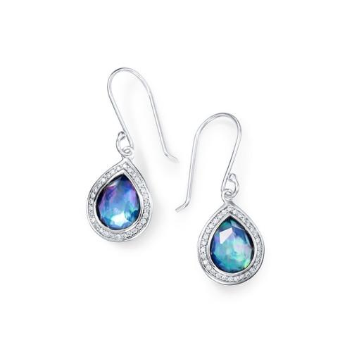 Mini Teardrop Earrings in Sterling Silver with Diamonds SE1150TFCQMOLPDI