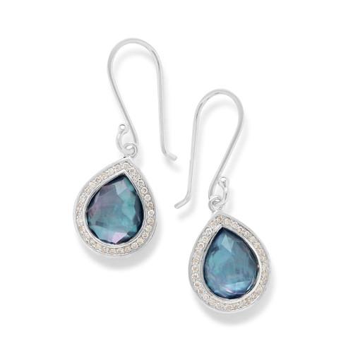Mini Teardrop Earrings in Sterling Silver with Diamonds SE1150TFCQMONXDI