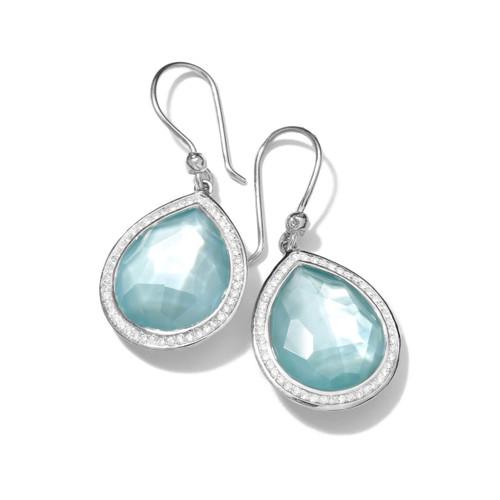 Teardrop Earrings in Sterling Silver with Diamonds SE1151DFBTMOPDIA