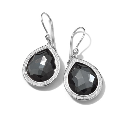 Teardrop Earrings in Sterling Silver with Diamonds SE1151DFHEMDIA