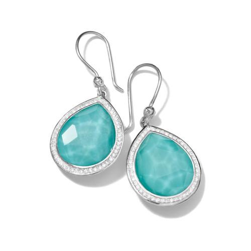 Teardrop Earrings in Sterling Silver with Diamonds SE1151DFTQDIA